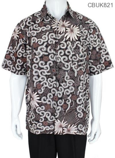 Kemeja Batik Pendek Motif Kembang Tentakel