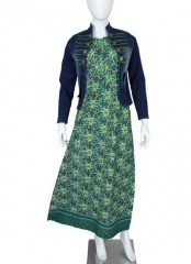 Set Gamis Batik jacket Jeans Green Line Tumpal