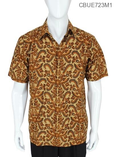 Baju Batik Kemeja Baturaden Motif Pisang Bali Coklat