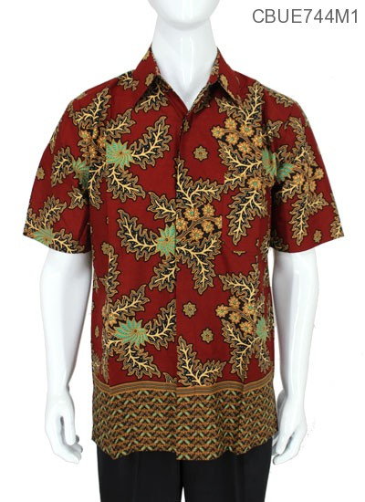 Kemeja Batik Baturaden Motif Daun Warna