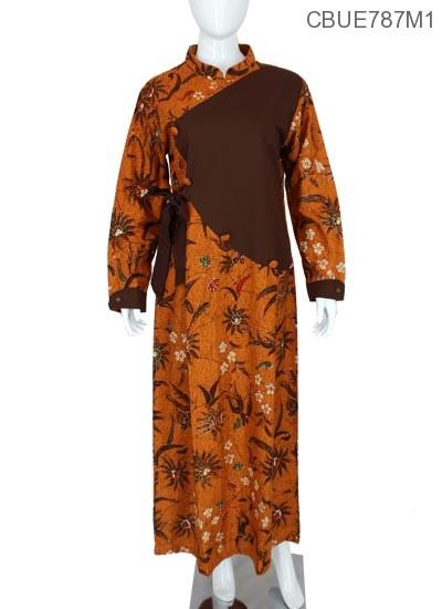 Gamis Batik Kembang Dara Nitik Coklat Gamis Batik Murah