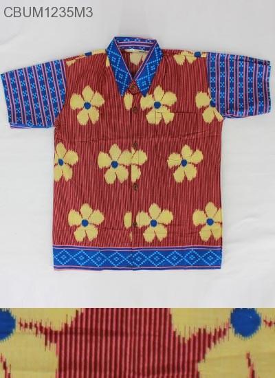 Kemeja Batik Anak Motif Salur Bunga XL
