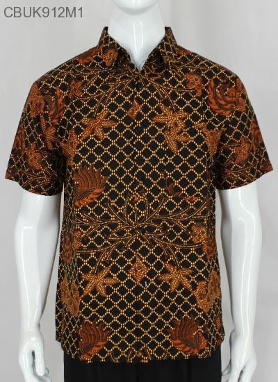 Kemeja Batik Pendek Motif Sogan Cemeng