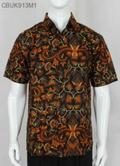 Kemeja Batik Pendek Motif Pisang Cemeng