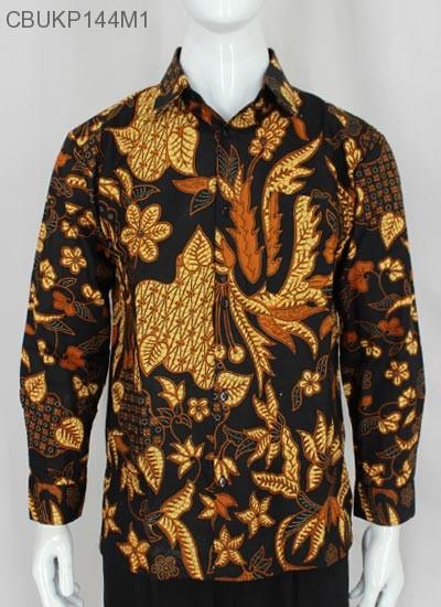 Kemeja Batik Panjang Motif Bunga Coklat