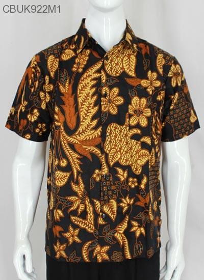 Kemeja Batik Pendek Motif Bunga Coklat