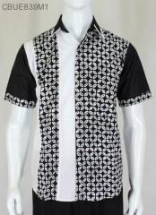 Kemeja Batik Pendek Hitam Putih