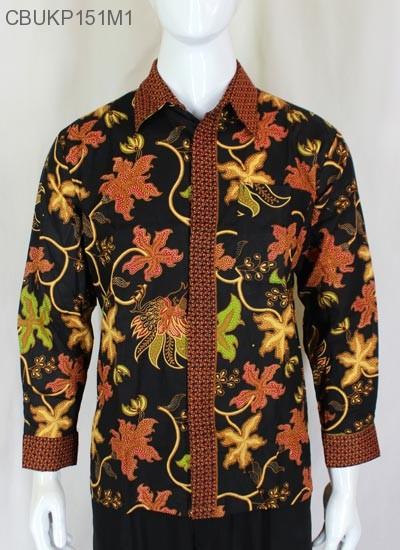 Baju Batik Kemeja Panjang Motif Anggur