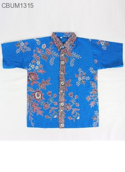 Kemeja Batik Anak Motif Bunga Biru