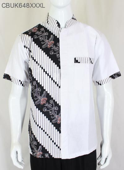 Kemeja Batik Koko Motif Kembang Parang Stik Putih XXXL