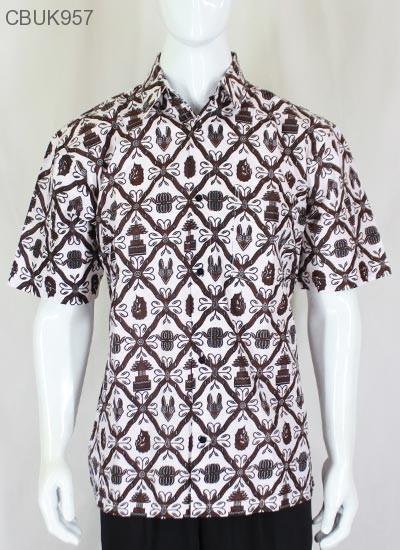 Kemeja Batik Pendek Motif Kembang Tugu