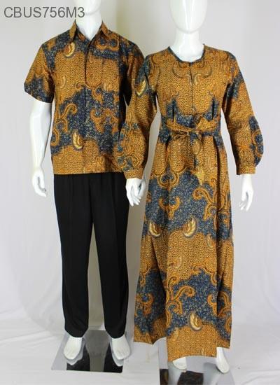 Baju Couple Batik Gamis Klok Motif Daun Kemeja Lengan