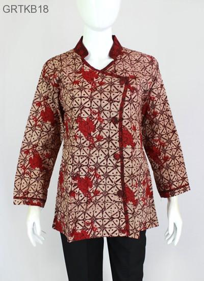 Atasan Wanita Blus Batik Cap Warna Merah Sarimbit Murah
