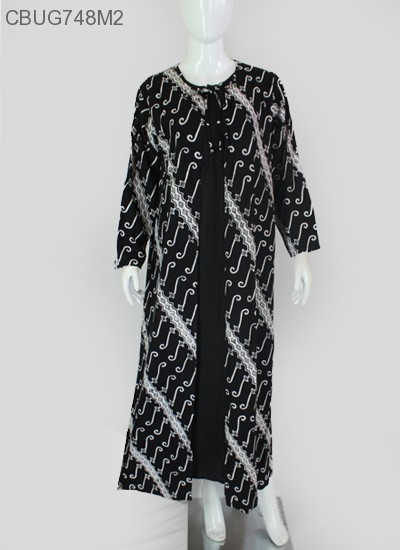 Gamis Batik  Cardigan Hitam Putih Ayodia Rayon