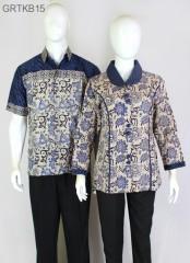 Blouse Batik Cap Atasan Kerah Warna Biru
