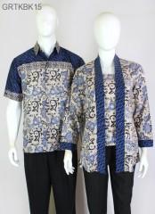 Blouse Batik Cap Atasan Kutubaru Warna Biru
