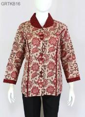 Blouse Batik Cap Atasan Kerah Warna Merah