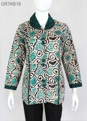 Blouse Batik Cap Atasan Kerah Warna Hijau