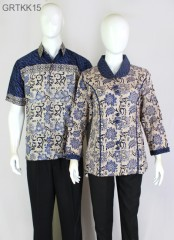 Kemeja Batik Cap Warna Biru