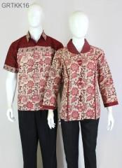Kemeja Batik Cap Warna Merah