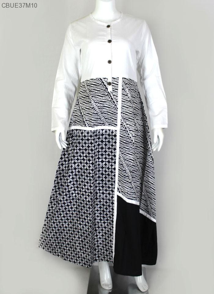 Gamis Batik Kombinasi Sogan Ayodia Abaya Puzzle