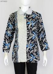 Blus Batik Printing Motif Blarak Biru