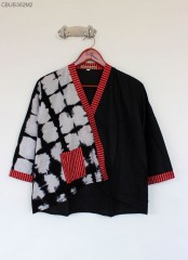 Blus Kimono semerbak Lurik Shibori