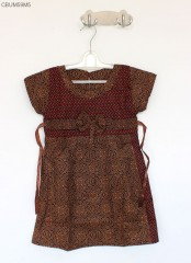 Dress Batik Anak Pita Cappucino Size T