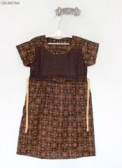 Dress Batik Anak Pita Cappucino Size XL