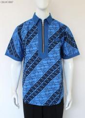 Kemeja Slimfit Modern Batik Cap Warna Katun Halus