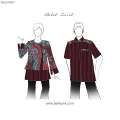 Blouse Lurik Kombinasi Batik Semitulis