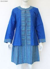 Dress Outer Bolero Terpisah Lurik Katun Mix Embos Primis