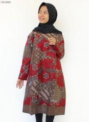 Dress Tunik Batik Katun Motif Sekar Anom Merah