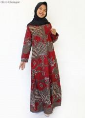 Gamis Batik Kancing Depan Sekar Anom Merah
