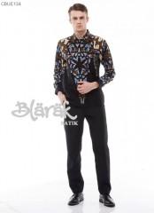 Kemeja Batik Blarak Motif AHY 4 Hitam Biru