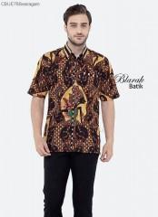 Kemeja Batik Blarak Pendek Motif Wayang Coklat