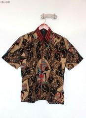Kemeja Batik Blarak Pendek Motif Merah Trikot