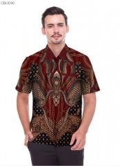 Kemeja Batik Blarak Pendek Motif Sisik Merah