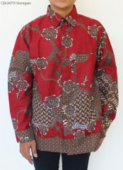 Kemeja Batik Lengan Panjang Motif Sekar Anom Merah