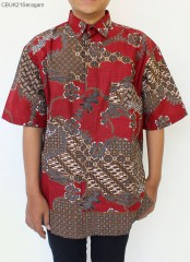 Kemeja Batik Lengan Pendek Motif Sekar Anom Merah