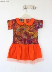 Koleksi Batik Ibu Anak Motif Flora Orange