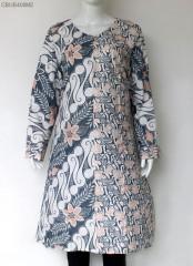 Tunik Batik Cap Klasik Cerah Abu Peach