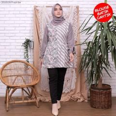 Blouse Amira Kombinasi Batik Abu Motif 2