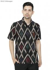 Kemeja Batik Blarak Cap Lengan Pendek Songket Layang Modern