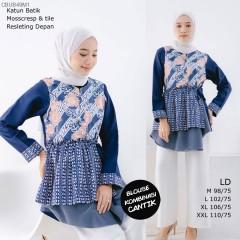 Blus Batik Kombinasi Mosscrep dan Tile
