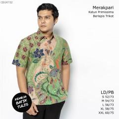 Kemeja Batik Tulis Trikot Lengan Pendek Motif Merakpari