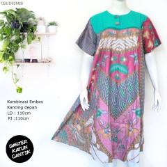 Daster Katun Batik Kombinasi Embos Cerah