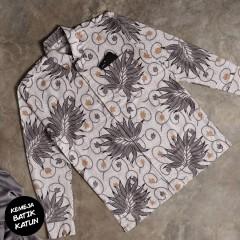 Kemeja Batik Katun Modern Motif Ganggang Abu