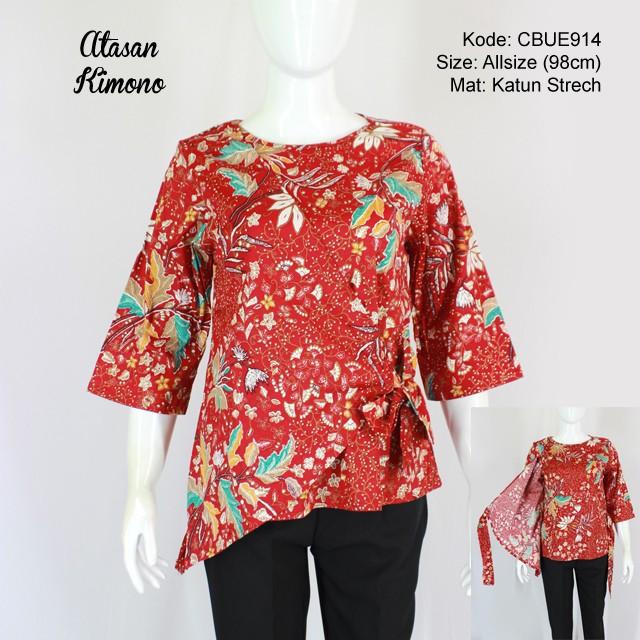 Atasan Kimono Flora Merah Blus Lengan Tanggung Murah Batikunik Com