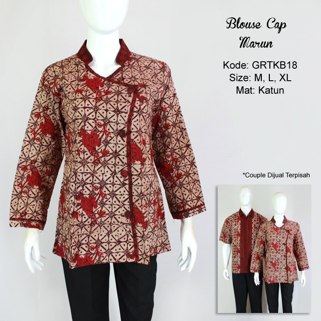 Batik Kerja Sarimbit: Atasan Wanita Blus Batik Cap Warna Merah